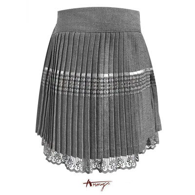 Anny夢幻系緞質壓紋蕾絲擺百摺裙*1259灰