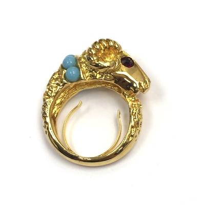 Kenneth Jay Lane 好萊塢巨星最愛 魔羯戒指 鑲白鑽土耳其藍珠珠  附原廠盒