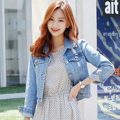 韓系-刷破感縫痕翻領排釦牛仔外套-圖片色-91-KOKO