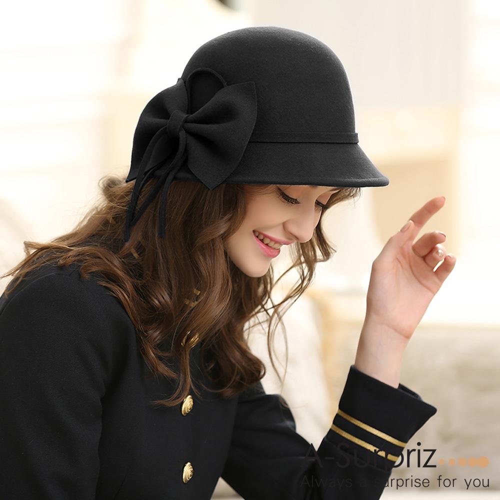 A-Surpriz 氣質佳人蝴蝶結純羊毛圓帽(黑)