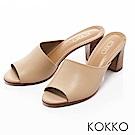 KOKKO -相遇在米蘭寬版粗高跟涼拖鞋-拿鐵棕