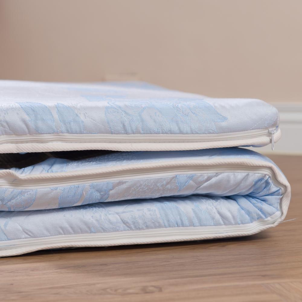 eyah宜雅 台灣製可折疊雙面裹竹蓆面三折太空記憶棉床墊-雙人5尺 水藍緹花