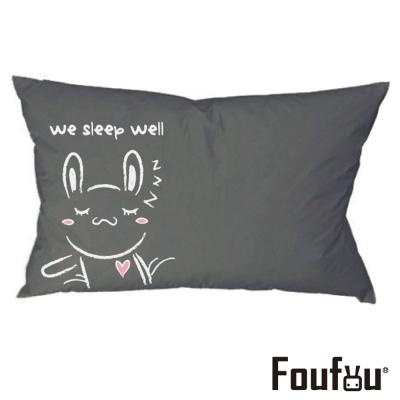 Foufou 抱枕套-手牽手睡覺 兔 灰黑色(單人枕套)