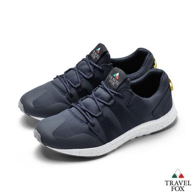 TRAVEL FOX(男)牛皮拼接運動鞋-藍