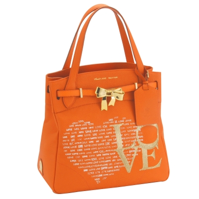 A.D.M.J RIBBON金屬蝴蝶結COVA-TOTE BAG-ORANGE