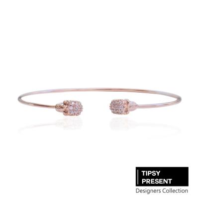 微醺禮物 韓製 手環 鋯石 鍍16K金 骷顱頭 開口式 手環