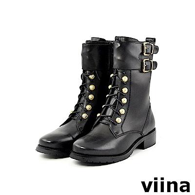 viina -都會系列-帥氣牛皮珍珠綁帶軍靴-黑