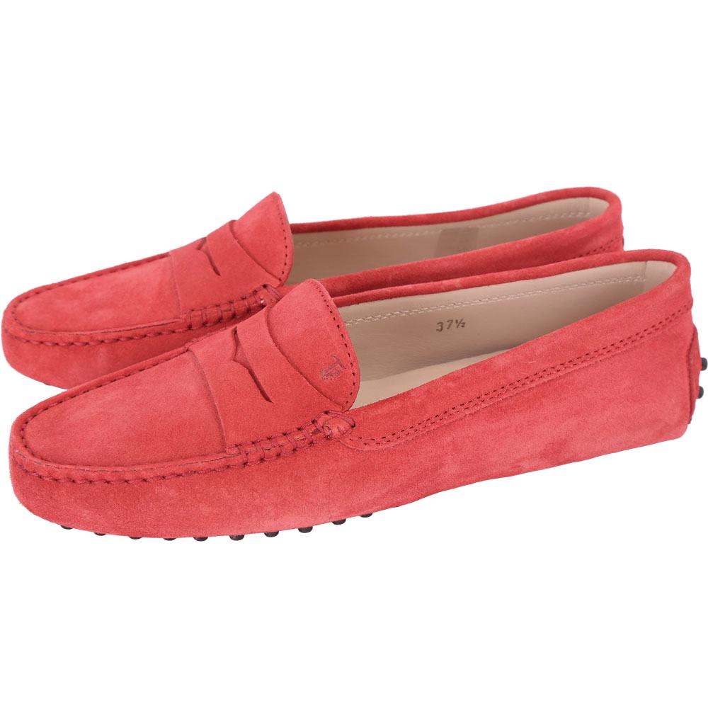 TOD'S Gommino 麂皮絨休閒豆豆鞋(紅色)