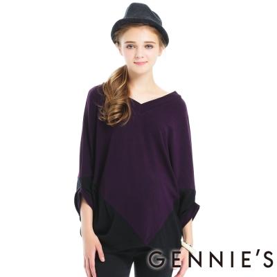 Gennies奇妮-色塊倒三角形修身拼接上衣-C3