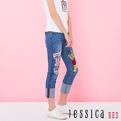 JESSICA RED-Hi 紐約貼布電繡反折牛仔褲