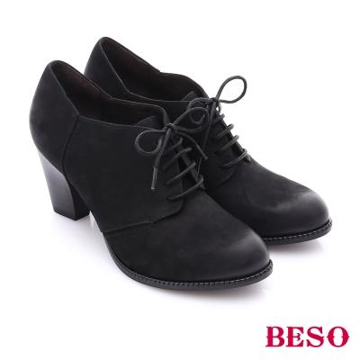 BESO 簡約知性 雙色牛皮粗高跟踝靴 黑色