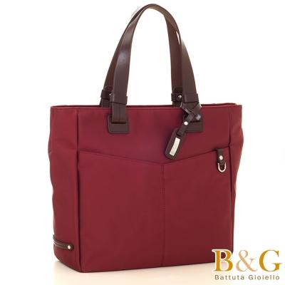 B&G雙口袋簡約氣質手提肩背包(神秘棗紅)