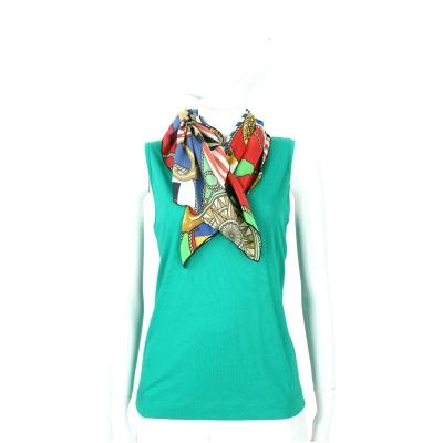 LOVE MOSCHINO 綠色印花領巾拼接無袖針織上衣
