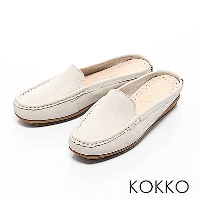 KOKKO-精品手感牛皮莫卡辛穆勒平底鞋-簡單米