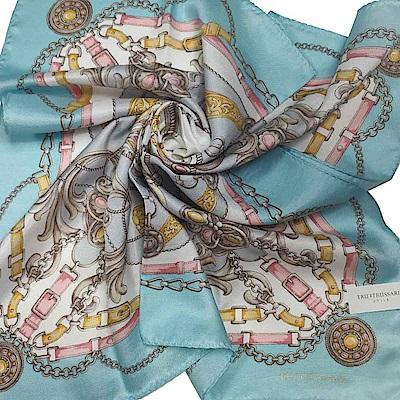 TRUSSARDI 經典品牌皮穿鍊圖騰LOGO絲質大帕領巾(水藍邊)