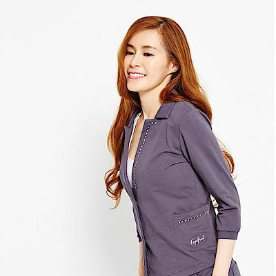 【TOP GIRL】針織七分袖西裝外套-鐵灰