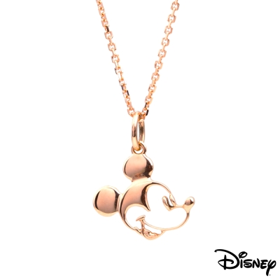 Disney迪士尼金飾 經典米奇18K金墜子-玫瑰 送14K金項鍊
