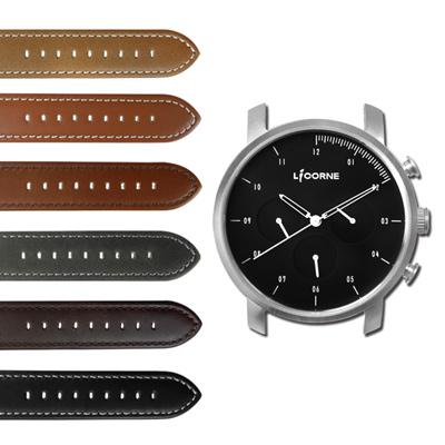 LICORNE 力抗 MYO 首創自由搭配藍寶石水晶玻璃真皮手錶-黑色/45mm