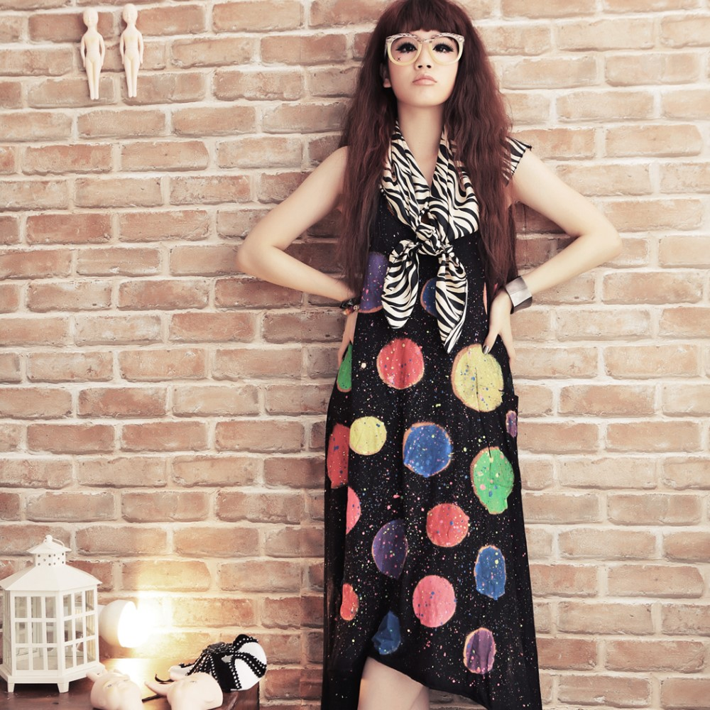 古著 彩色噴繽紛點點設計雙U領背心洋裝