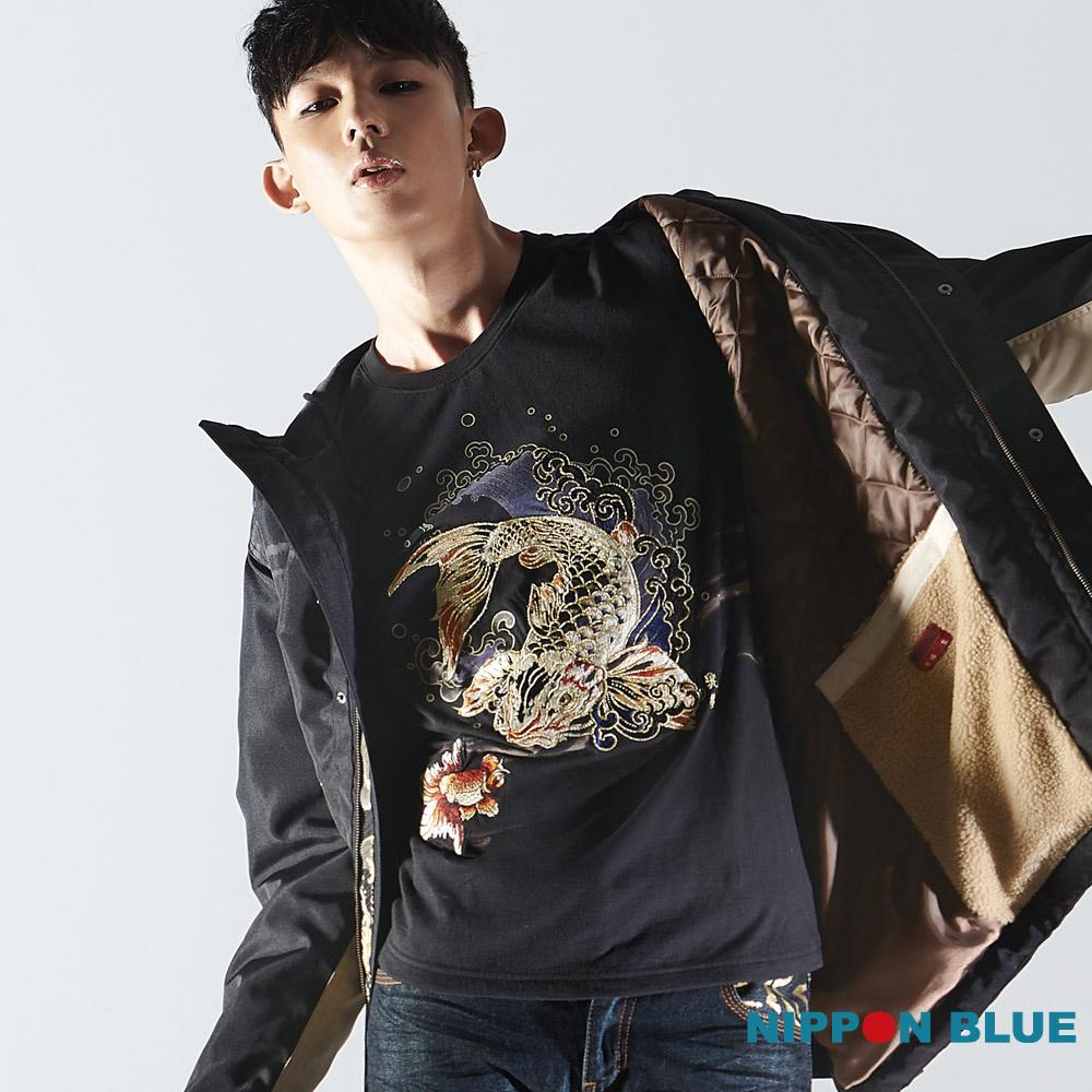 日本藍 BLUE WAY 精繡系列金鯉長袖T恤
