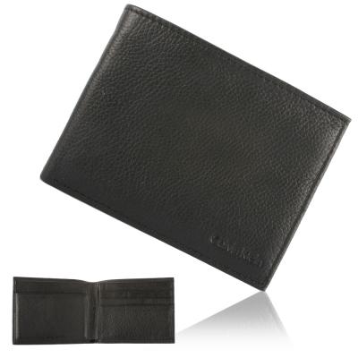 Calvin Klein 荔枝壓紋LOGO短夾鑰匙圈禮盒-黑色