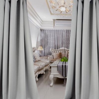 布安於室-簡約素色灰穿管式單層遮光窗簾-半腰窗(寬200X高165cm)