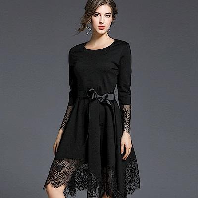 ABELLA 艾貝拉 拼接黑蕾絲不規則擺裙綁腰緞帶洋裝(S-XL)