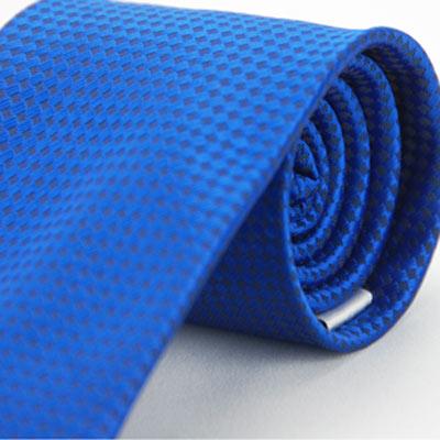 Alpaca 亮藍菱黑格紋領帶