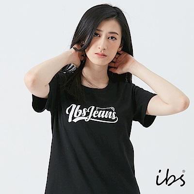 ibs美式草寫文字T恤-黑-女