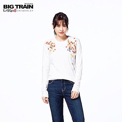 BIG TRAIN 京都小鹿圓領長袖-女-白色