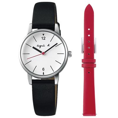 agnes b. 法式極簡 都會佳人套錶組(BH8032X1)-白x黑/26mm