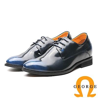 GEORGE 喬治-內增高系列 時尚鏡面牛皮皮鞋 男鞋-藍