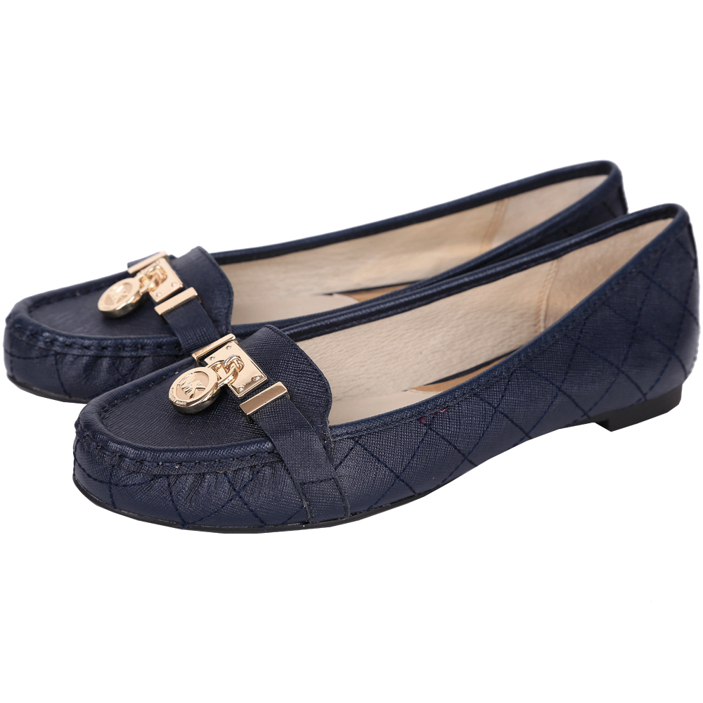 Michael Kors Hamilton 鎖飾菱格車紋平底鞋(深藍色)