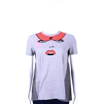 RED VALENTINO 灰色圖案蕾絲拼接短袖上衣