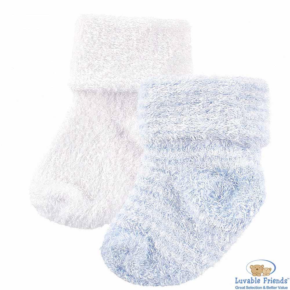 Luvable Friends 藍色款雪尼爾棉柔嬰兒襪童襪二件組