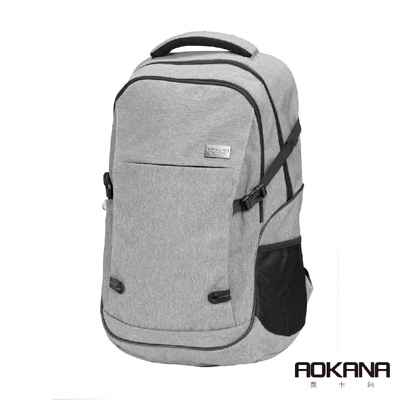 AOKANA奧卡納 輕量防潑水護脊電腦商務後背包(時尚灰)68-094