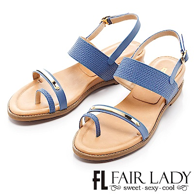Fair Lady 簡約線條感設計穿趾增高涼鞋 藍