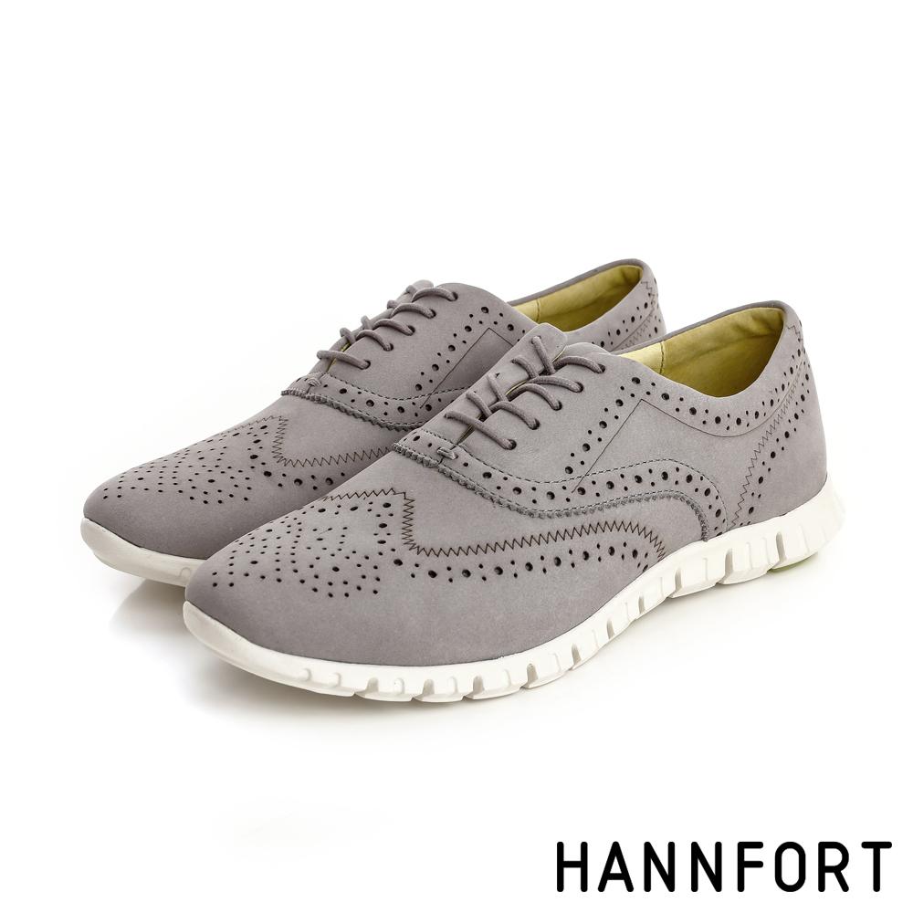 HANNFORT ZERO GRAVITY輕舞牛津翼紋雕花氣墊鞋-女-率性灰8H