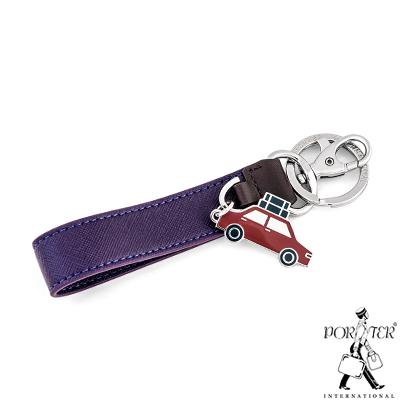PORTER-汽車吊飾真皮鑰匙圈-紫