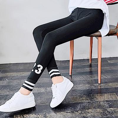 中大尺碼鬆緊腰23號腳踝雙槓條紋黑色九分內搭褲L~4L-Ballet Dolly