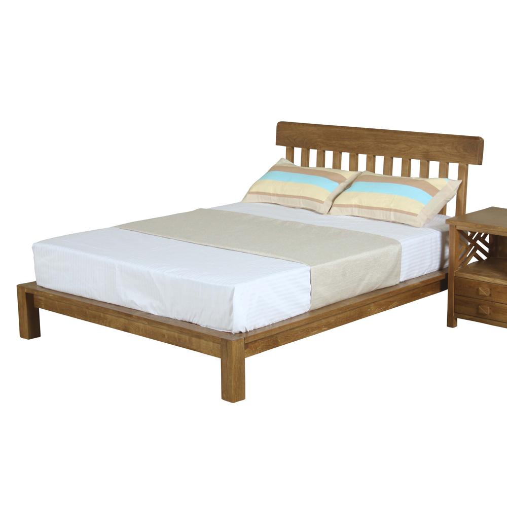 AT HOME-漢威6尺實木淺胡桃色雙人加大床架(192*206*100cm)(不含床墊)