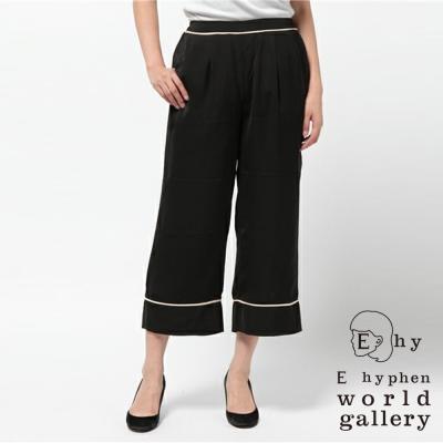 E-hyphen-光澤質感腰際鬆緊設計寬褲