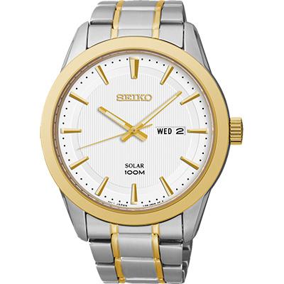 SEIKO 紳士風格太陽能時尚腕錶(SNE364P1)-銀x雙色版/44mm