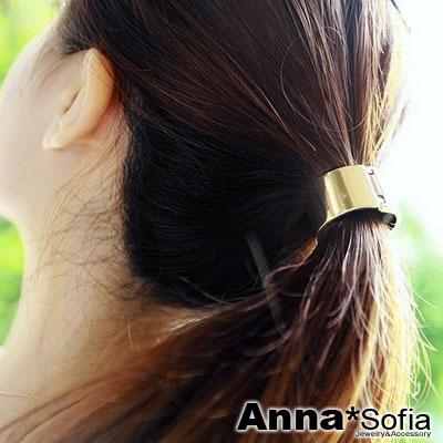 AnnaSofia-歐美走秀金屬感圈釦-純手工彈性髮束髮圈髮繩-金系
