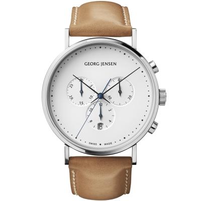 GEORG JENSEN 喬治傑生-KOPPEL 經典時尚計時腕錶-白x/棕色41mm