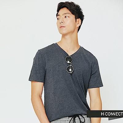 H:CONNECT 韓國品牌 男裝-舒適感小V領上衣-藍