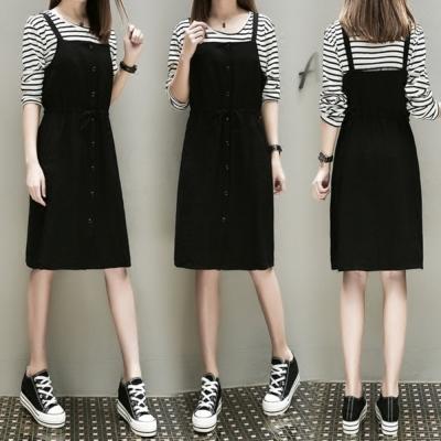 中大尺碼黑白條紋上衣加黑色排釦腰抽繩背心裙套裝XL~4L-Ballet Dolly