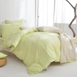 DON 原色時尚 單人200織精梳純棉被套-青蘋綠