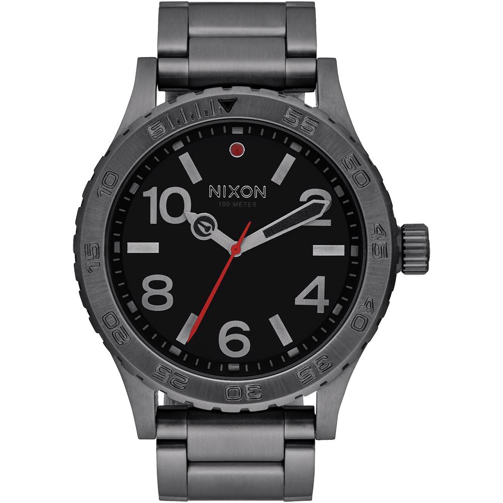 NIXON 46 品牌潮流躍動運動腕錶-灰框黑/45mm