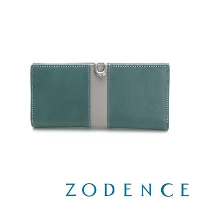 ZODENCE-西班牙牛皮撞色推扣長夾-綠